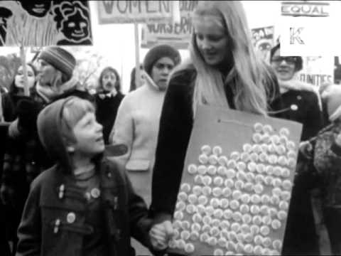 Early 1970s Women's Liberation March, London, UK Archive Footage