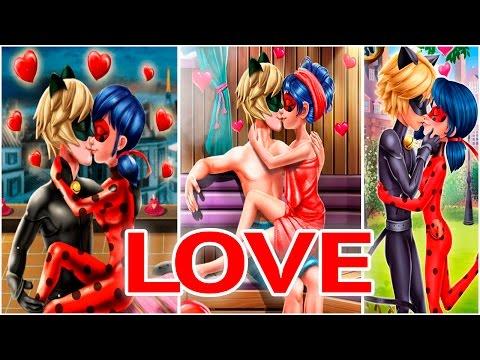 Miraculous Ladybug and her Boyfriend Cat Noir Secret Love Kiss Game Compilation