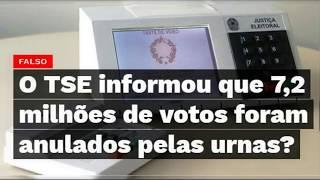 TSE informa: 7,2 milhões de votos anulados pelas urnas! É #FAKE