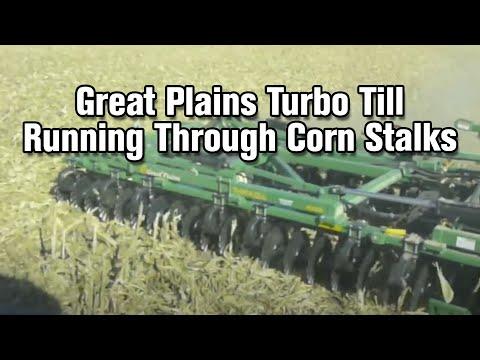 Great Plains Turbo Till Running Through Corn Stalks