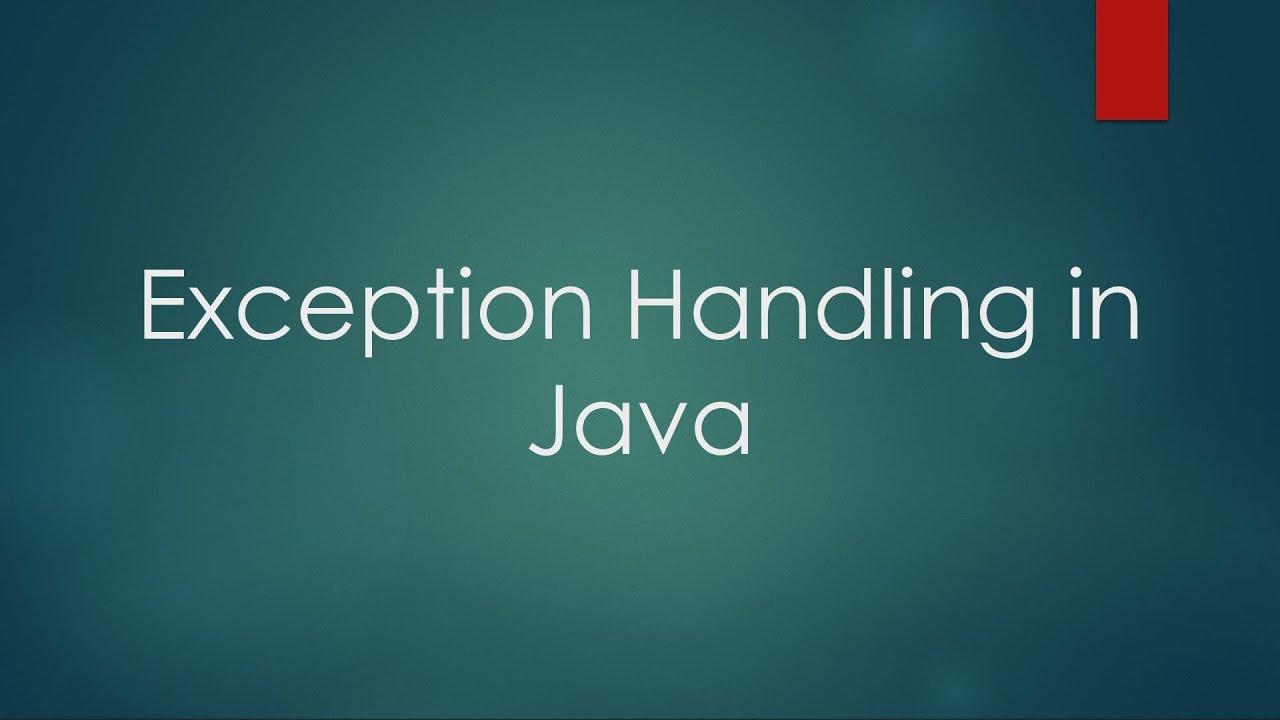 Download Exception Handling in Java