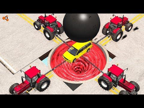 Beamng drive - Giant Chain vs. Giant Ball crashes #3 (giant water vortex crashes)