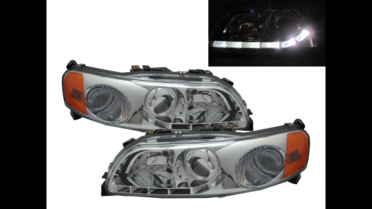 Crazythegod s60 v70 2000 20004 pre facelift projector headlight headlamp r8look chrome for volvo youtube