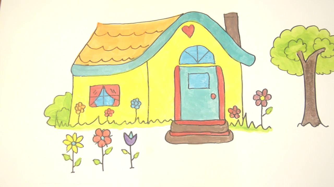 Menggambar Dan Mewarnai Rumah Youtube