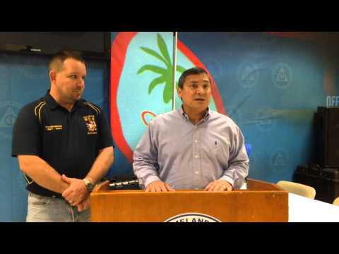 Governor Calvo and Rob Malay brief media on tropical depression