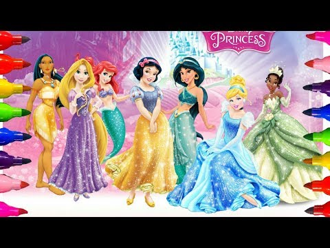 how-to-color|disney-princess-coloring-pages|-ariel|aurora-and-cinderella|kids-girls-art