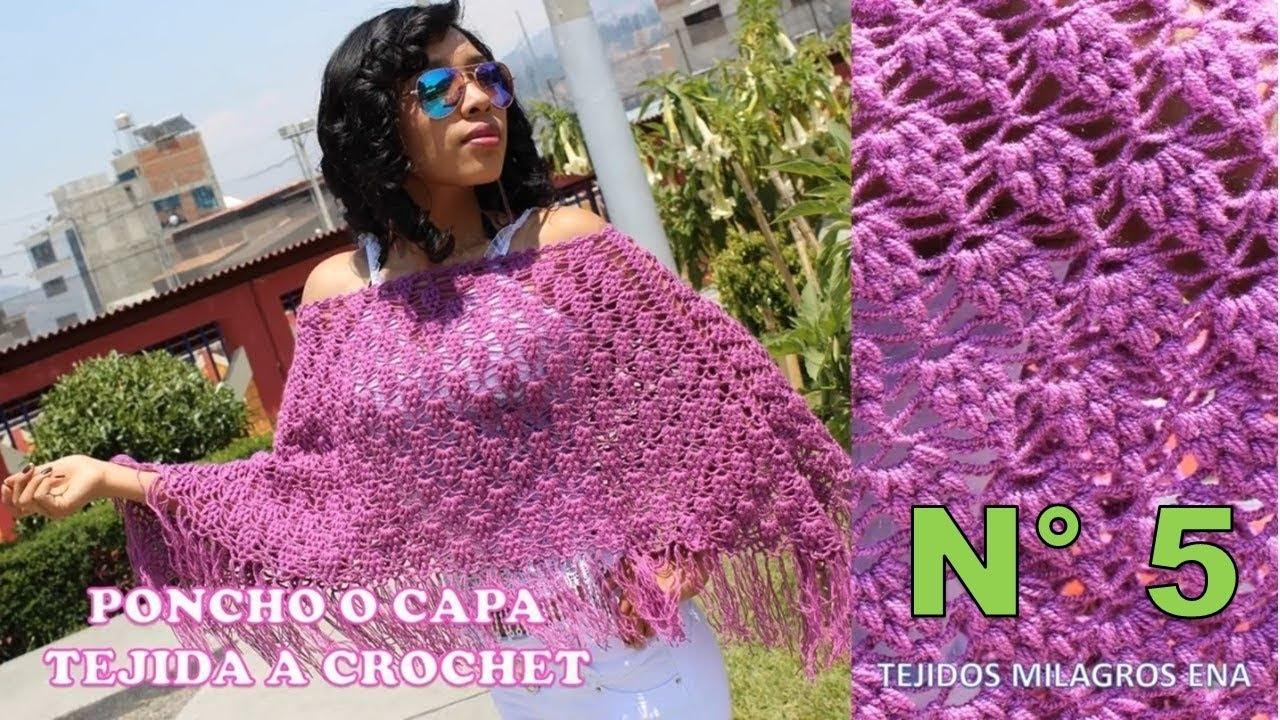 Poncho tejido a crochet para mujer en punto UVAS paso a paso - YouTube