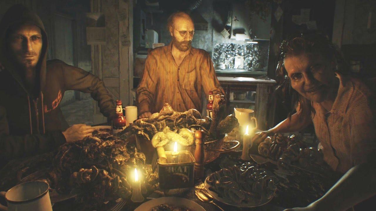 Resident Evil 7 Dinner Scene Jack Fight Youtube