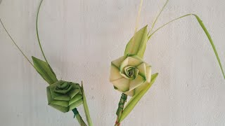 Cách làm hoa hồng bằng lá dừa đơn giản đẹp (c4)