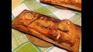 Запекаем лосось на кедровой доске