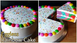 Easy Rainbow Cake  Eggless Cake Without Oven   Rainbow Cake Without Butter, Condensed milk, Curd