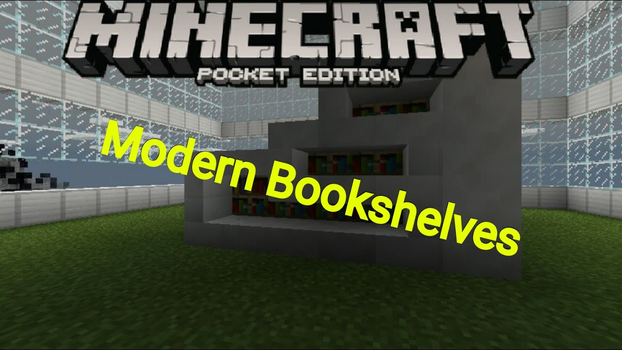 Minecraft PE Modern Bookshelves Furniture Ideas YouTube - Bookshelves minecraft