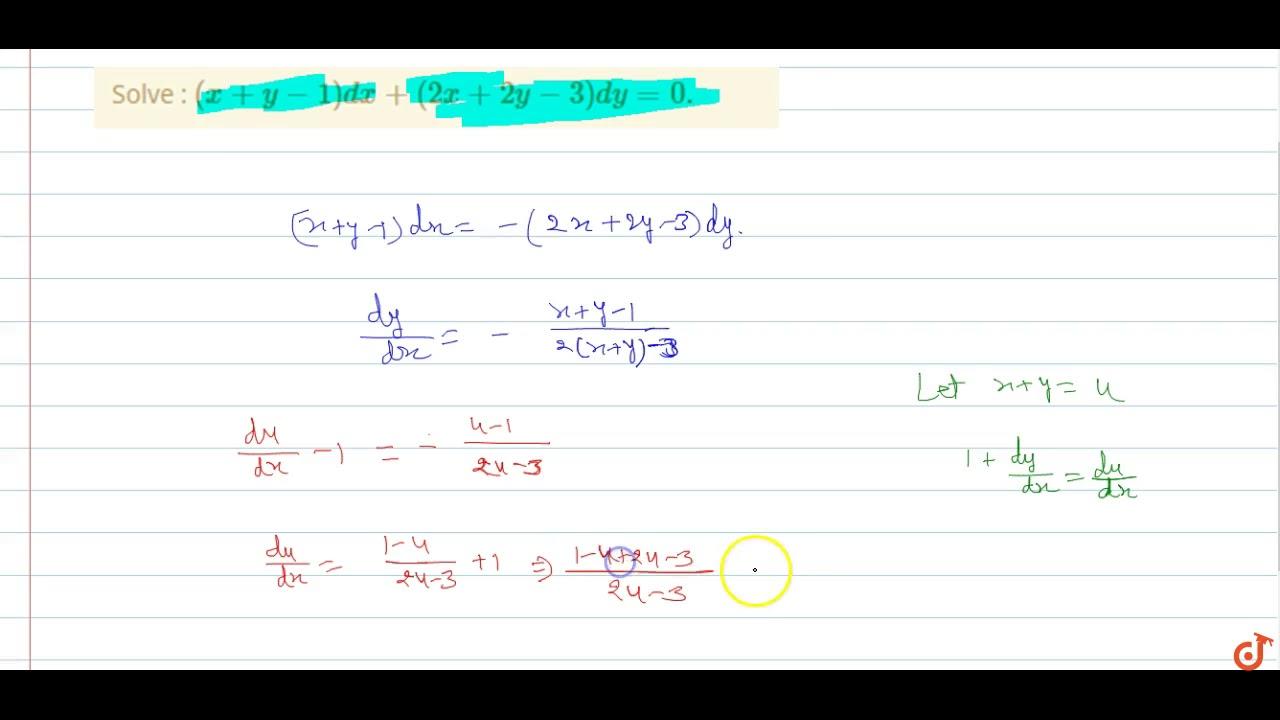 Solve Xy 1dx 2x 2y 3dy0 Youtube
