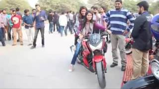Pakistani Girls Ride Heavy Bike At Comsats Auto Show