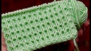 Простые узоры спицами. Плотный узор со снятыми петлями.