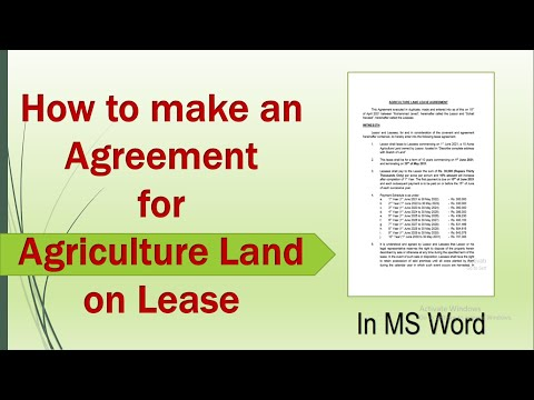 How to make an Agreement for Agriculture Land on Lease in MS Word | Contract for Agriculture Land