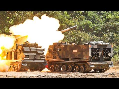 US Army Field Artillery Multiple Rocket Launch System | Loading & Firing