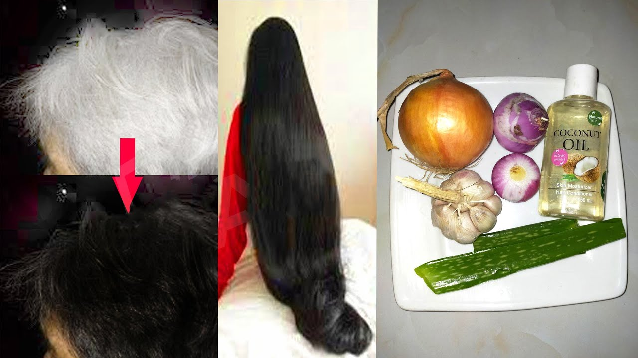 White Hair to Black Hair and  Grow Long Hair Overnight with Simple Way at Home
