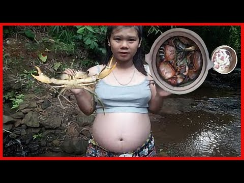 Primitive Technology - Find Crabs cook in the clay - Cooking crab recipe ( Eating delicious )