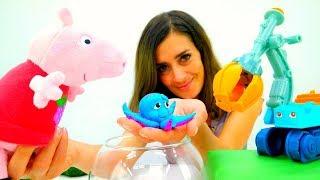 Lustige Schule mit Peppa Wutz. Spielzeugvideo für Kinder.