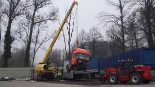 Pomoc drogowa Niemcy - SZKWAREK - A2 Świecko Słubice - Załadunek ciągnika po wypadku