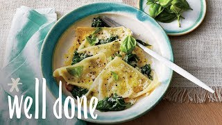 How to Make Basil-Ricotta Ravioli with Spinach | Recipe | Well Done