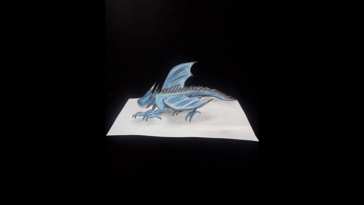 3d Dessin Facile Drawing A Blue Dragon 3d Illusion Youtube