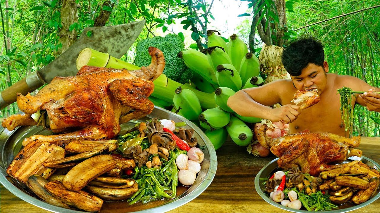 Roast Chicken with Green Banana,Morning Glory Eating So Delicious - Cooking Chicken BBQ Recipe