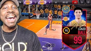 99 OVR LONZO BALL WITH MAXED OUT ATTRIBUTES! NBA Live Mobile Gameplay Pack Opening Ep. 159