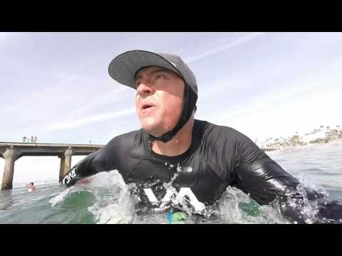 "Surfing the CBC Sushi 5'6"" soft surfboard at Manhattan Beach Pier"