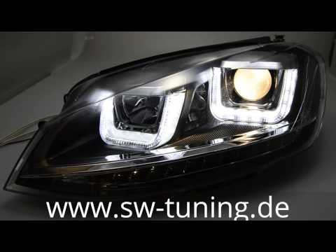 swdrltube scheinwerfer golf 7 led blinker u tfl chrom line black sw tuning youtube. Black Bedroom Furniture Sets. Home Design Ideas