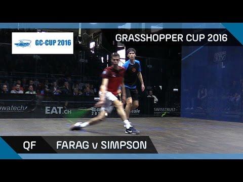 Squash: Farag v Simpson - Grasshopper Cup 2016 - QF Highlights