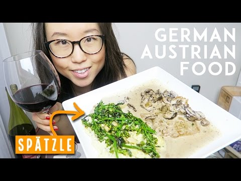 German Austrian Food MUKBANG ft. Jagerschnitzel and Spatzle