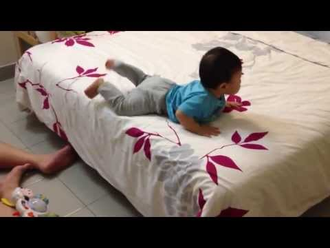 Smart Baby Gets Down From The Bed
