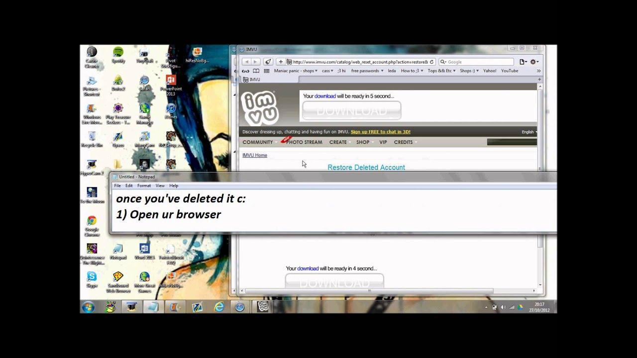 IMVU - How to restore Your IMVU account. - YouTube