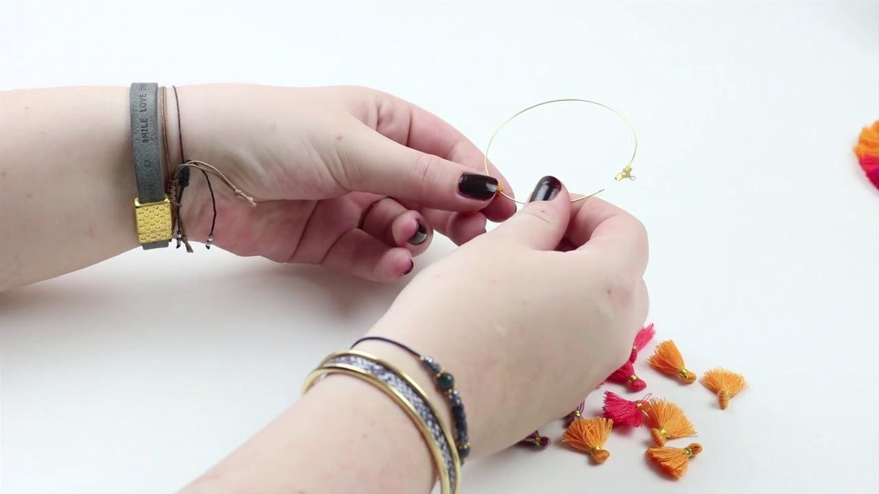 handmade jewellery: fringe hoop earrings with tassels ♡ diy - youtube