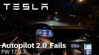TESLA Autopilot 2.0 - FW 17.9.3 Fails