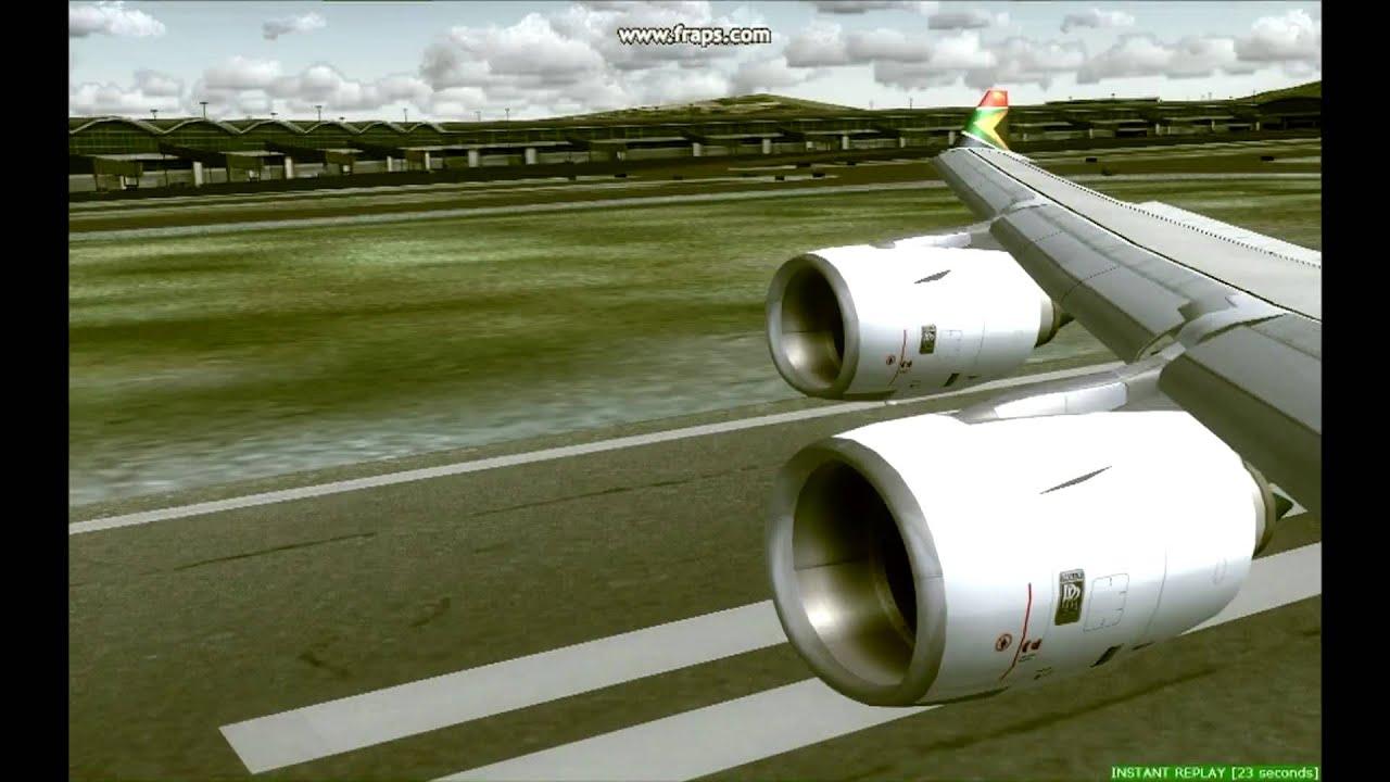 South african a340 600 landing at hong kong real sounds i5 2500 3