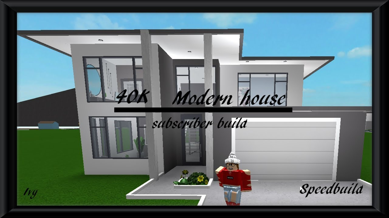40k modern house roblox bloxburg subscriber build speedbuild