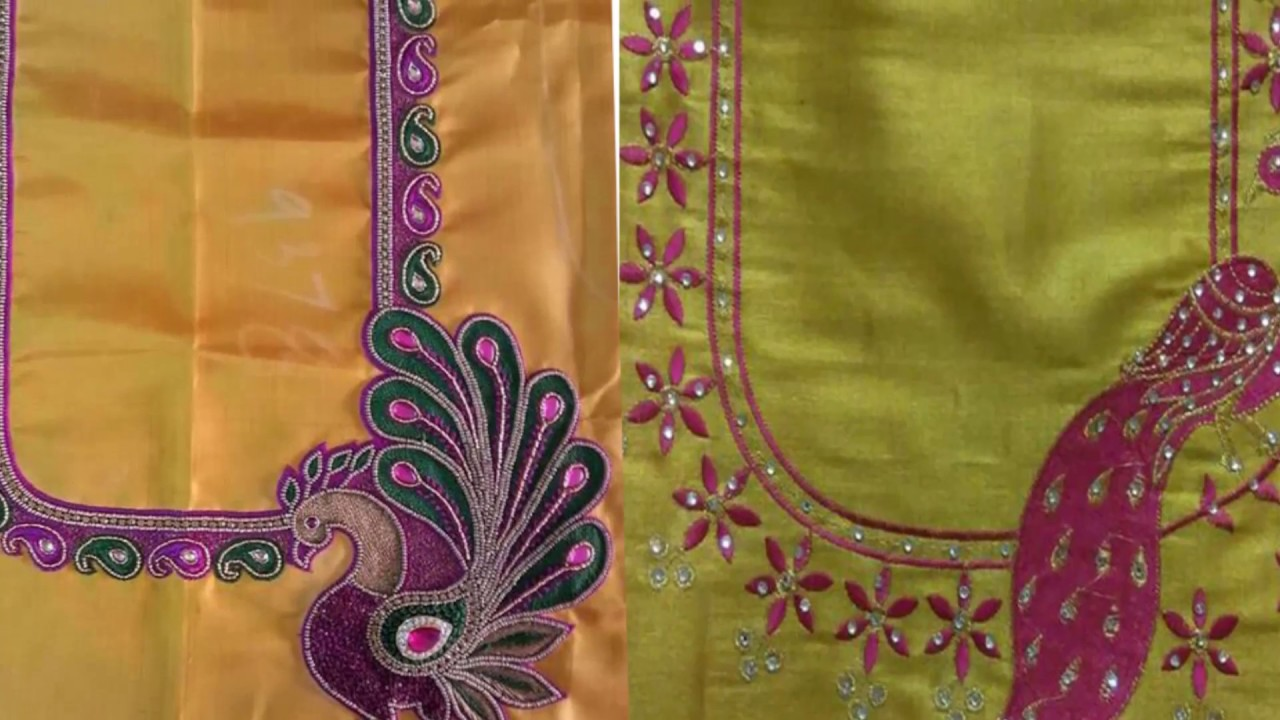 Simple Thread Embroidery Work Blouse Design Collection For Silk