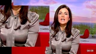 Susanna Reid Grey Satin Top - Boobs Magnified