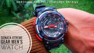 ⌚UNBOXING Sonata 77071pp01 XTREME GEAR Series Analog-Digital Men's Watch|Unboxing and Full Feature|