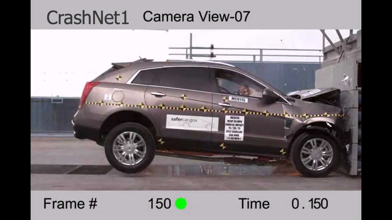 medium resolution of cadillac srx frontal crash test high speed camera 2012 nhtsa full length hd
