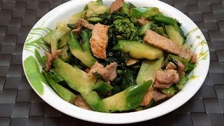Hong Kong Recipe  : Stir-fried Pork with Chinese Kale