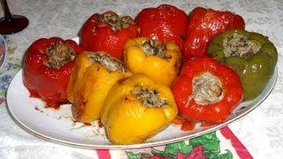 Перец фаршированный мясом и рисом./Stuffed peppers