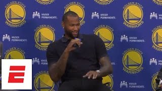 DeMarcus Cousins jokes about Klay Thompson in first Warriors press conference | ESPN