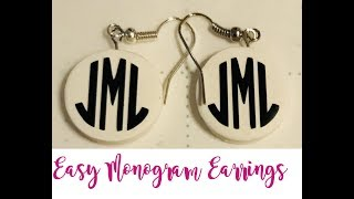 Easy Monogram Earrings with Polymer Clay and Adhesive Vinyl