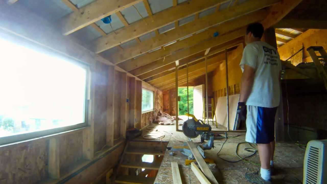 Building A Parion Wall For The Storage Room 91 My Diy Garage Build Hd Time Lapse You