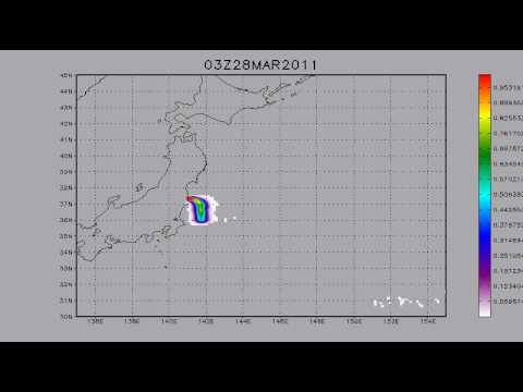 25.03.2011. Fukushima. I 131 transport. 5 days forecast.