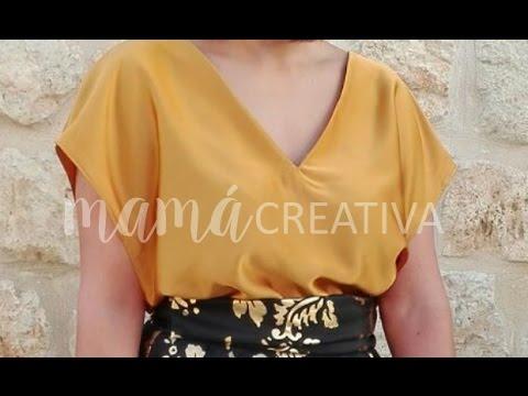 Como hacer una blusa con escote en V y espalda cruzada en